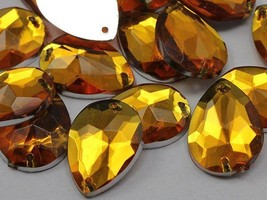 18x13mm Gold Topaz CH16 Teardrop Flat Back Sew On Gems For Craft 50 PCS - $5.61