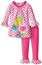 Rare Editions Little Girls' Chevron Printed Balloon Set, Pink/White, 6 [Apparel] - $36.53