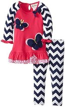Rare Editions Baby Girls' Butterfly Applique Legging Set (6 Months, Fuchsia/N...