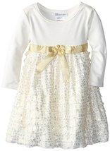 Bonnie Jean Little Girls' Dress Foil Knit To Eyelash Tiered Skirt, Gold, 6X