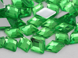 10x7mm Green Peridot .PD2 Flat Back Diamond Acrylic Gems - 100 Pieces - $4.42