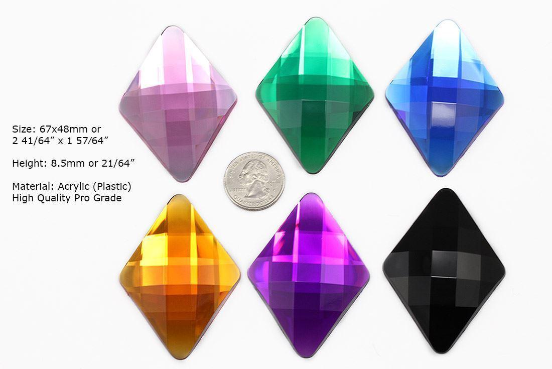 67x48mm Green Emerald H106 Flat Back Large Diamond Gems High Quality  2 PCS