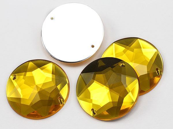 32mm Gold Topaz H107 Round Flat Back Sew On Gems For Craft, 5 PCS