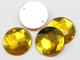 32mm Gold Topaz H107 Round Flat Back Sew On Gems For Craft, 5 PCS - $6.28