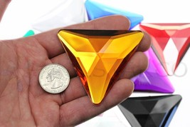 68mm Orange Hyacinth H125 Flat Back Triangle Acrylic Gems High Quality  ... - $7.93