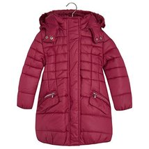 Mayoral Little Girls Quilted Long Coat with Removable Hood, 012-Strawberry, 7