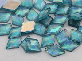10x7mm Blue Aqua Lite AB Flat Back Diamond Acrylic Gems - 100 Pieces - $5.30