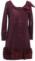 Big Girls 7-16 Pull-Thru Bow Bonaz Rosette Border Sequin Dress, BU4TA, Burgun...
