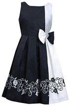 Bonnie Jean Little Girls 4-6X Black/White Posi-Neg Border Print Colorblock Dr...
