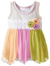 Baby Girls Infant Grey/Multi Stripe Knit to Colorblock Chiffon Hanky Hem Dres...