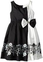 Bonnie Jean Little Girls' Positive-Negative Shantung Border Dress, Black, 5 B...