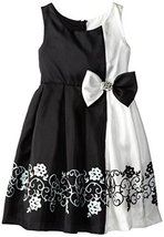 Bonnie Jean Little Girls' Positive-Negative Shantung Border Dress, Black, 6 B...