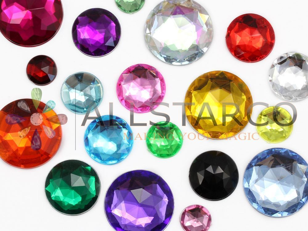 13mm Gold Topaz A02 Flat Back Round Acrylic Gems - 50 Pieces