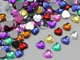8mm Assorted Colors Flat Back Acrylic Heart Gems  - 300 Pieces - $18.05
