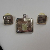 Vintage KC Kenneth Cole Silvertone Brown/Cream Swirl Enamel Pendant/Earr... - $15.99