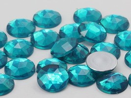 13mm Blue Zircon .BZ Flat Back Round Acrylic Gems - 50 Pieces - $5.37