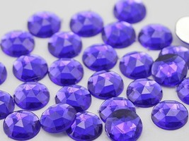 18mm Violet .VT Flat Back Round Acrylic Gems - 30 Pieces - $5.23