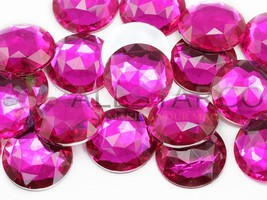 25mm Pink Fuchsia H108 Flat Back Round Acrylic Gems - 20 Pieces - $7.67