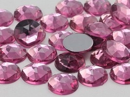 15mm Rose Lite .RS72 Flat Back Round Acrylic Gems - 40 Pieces - $5.39