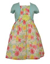 Bonnie Jean Big Girls Floral Print Chiffon Dress with Cardigan, Aqua, 7