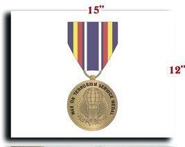 US Army Medal Armed Forces Global War on Terrorism Service Medal 2 CANVAS art... - $20.78