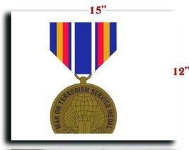 US Army Medal Armed Forces Global War on Terrorism Service Medal CANVAS art p... - $20.78