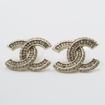 AUTHENTIC CHANEL XL LARGE CRYSTAL CC LOGO EARRINGS GOLD AUTHENTIC