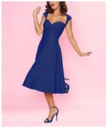 Bettie Page Queen Of Pinups Coral & Jade On Holiday Sweetheart Blue Dres... - $60.45