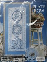 "Counted Cross Stitch Blue Toile 3 Plates In A Row Picture Kit 9"" x 22"" - $16.99"