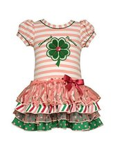 Baby Girls Shamrock Princess Mix Print Sparkle Tier Dress, R1-BBNI-RST16, Bon...