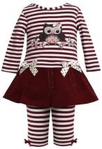 Burgundy-Red Sequin Owl Applique Dress / Legging set BU1TW,Bonnie Jean Baby-I...