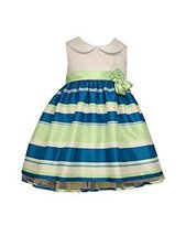 Baby Girls Solid to Stripe Collar Shantung Dress, Bonnie Baby, Teal, 0/3M - $39.50