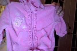 Hooded Velour Pink Jacket Sz 3-6 months  / - $3.47