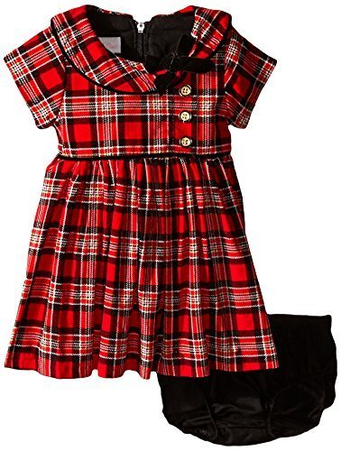 Bonnie Baby Baby-Girls Corduroy Printed Plaid Dress, Red, 0-3 Months [Apparel]