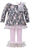 Baby Girls Grey/Pink Bonded Lace Floral Print Dress/Legging Set, W0-BBNI-WIN1...