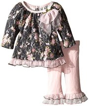 Bonnie Baby Baby-Girls Bonded Brushed Floral Print Lace Legging Set, Grey, 3-...