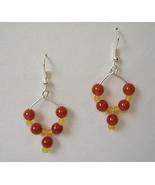 Red Amber Beaded Dangle Hoop Earrings Silver Metal Handcrafted Pierced N... - $32.00