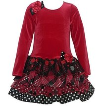 Bonnie Jean Little Girls Red Velour Floral Accent Tiered Christmas Dress 5 Bo...