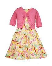Bonnie Jean Little Girls Multi Dot Poplin Cardigan Dress, Pink, 5 [Apparel]