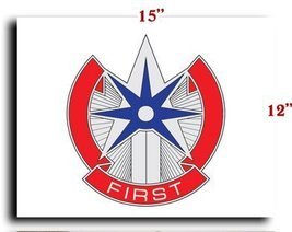 """US Army 1st Sustainment Command DUI CANVAS art print framed stretched 15""""x12"""" - $20.78"""