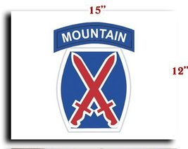 """US Army 10th Mountain Division 1 SSI CANVAS art print framed stretched 15""""x12"""" - $20.78"""