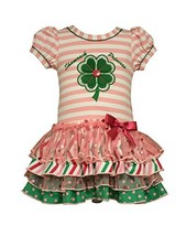Bonnie Jean Toddler Girls Shamrock Appliqued Tiered Dress, Pink, 4T [Apparel]