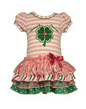 Bonnie Jean Little Girls Shamrock Appliqued Tiered Dress, Pink, 4 [Apparel] image 2