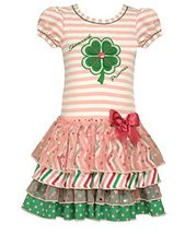 Bonnie Jean Little Girls Shamrock Appliqued Tiered Dress, Pink, 6 [Apparel]