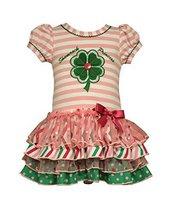 Bonnie Jean Little Girls Shamrock Appliqued Tiered Dress, Pink, 6 [Apparel] image 2