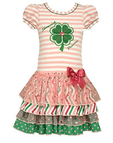 Bonnie Jean Little Girls Shamrock Appliqued Tiered Dress, Pink, 6X [Apparel]