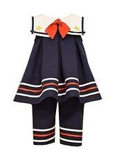 Baby Girls Square Sailor Collar Nautical Resort Dress/Pants Set, R0-BBNI-RST1...