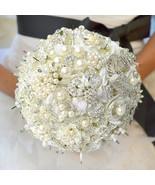 Luxury  White Rose Flower Crystal Pearl Brooch Bridal Bride's Wedding Bo... - $176.00
