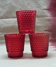 Three Vintage Red Hobnail Pattern Glass Votive Holders // Tea Light Holders - $12.00