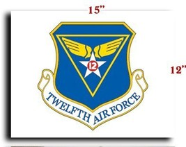 "Air Force USAF 12th Air Force CANVAS art print framed stretched 15""x12"" - $20.78"
